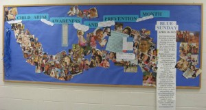 Trenton High School created a blue bulletin board in April 2013.