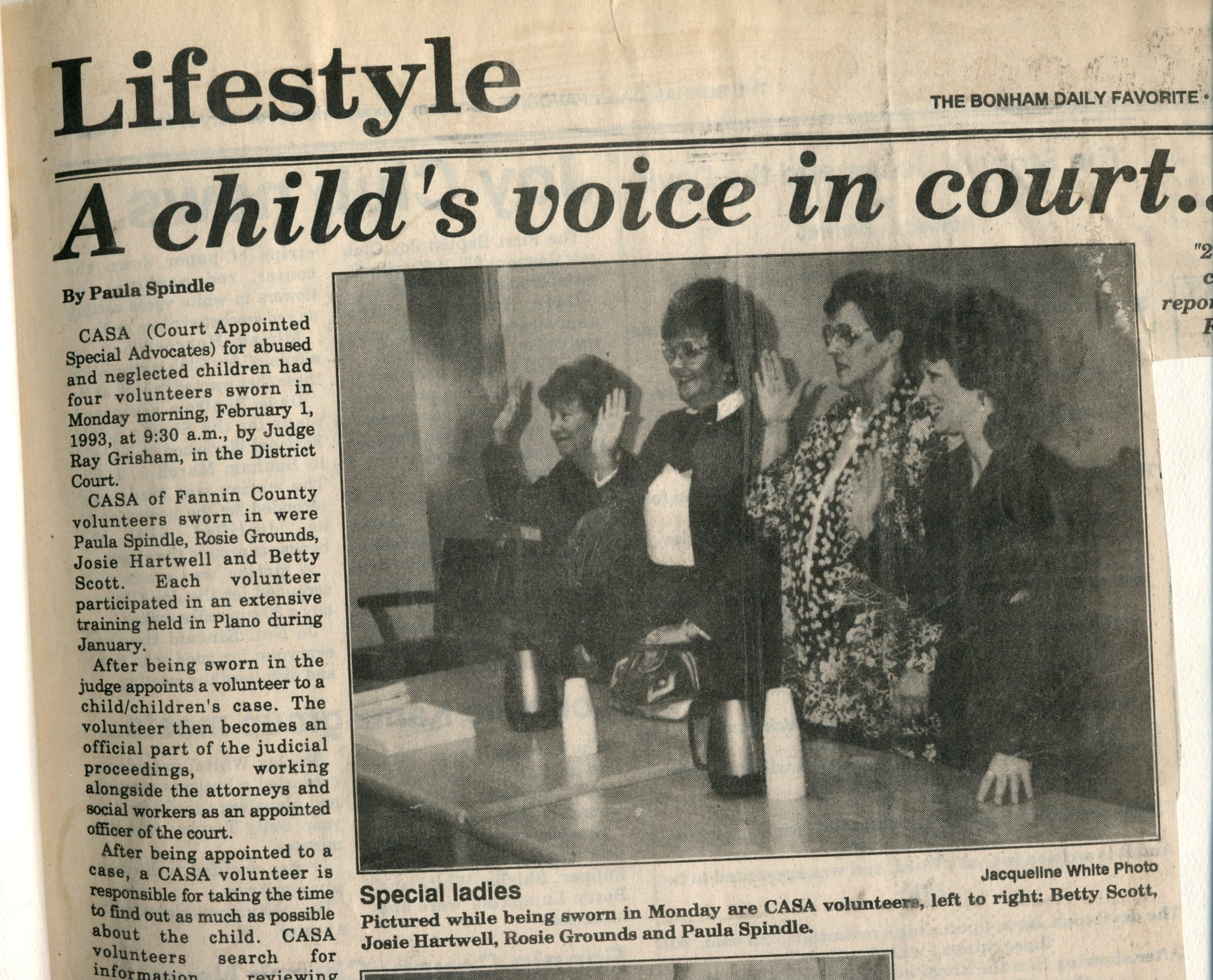 February 1, 1993 - our first class of CASA volunteers were sworn-in