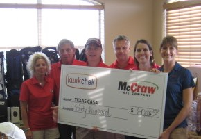 (from left) Sherry Capehart, Doyce Taylor, Bill Wilson, Kevin Smartt, Sandy Barber and Kara Hobbs were all smiles during the announcement that the Kwik Chek and McCraw Oil Charity golf tournament raised another $60,000 for CASA programs.