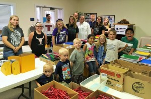 Volunteers from First Presbyterian Church of Bonham helped move, sort and organize supplies.