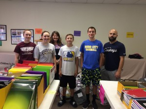 Volunteers from Lannius Church of God helped prepare lots of bags of school supplies!