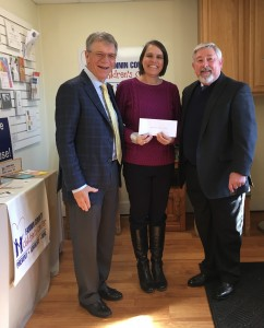 Two of the trustees from the MW and Fair Miller Foundation recently presented a check for $20,000 to the Fannin County Children's Center.  Trustees Dr. Dana Sisk (left) and Dr. Jerry Hopson (right) are pictured with the Children's Center's Executive Director Sandy Barber (center).